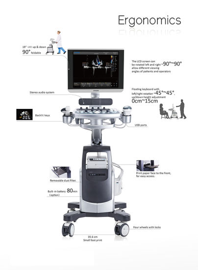 Medical Trolley 4D Color Doppler Chison Qbit 7 Ultrasound Machine pictures & photos