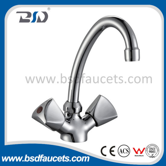 Dual Handles Chrome Deck Mounted Sink Mixer Brass Kitchen Faucet pictures & photos