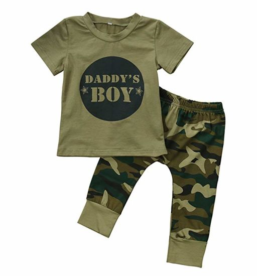 US Toddler Baby Boy Girl Camo Sleeve Romper Jumpsuit Bodysuit Summer Outfits Set