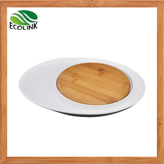 Bamboo Ceramic Cheese Board/ Ceramic Food Serving Tray pictures & photos