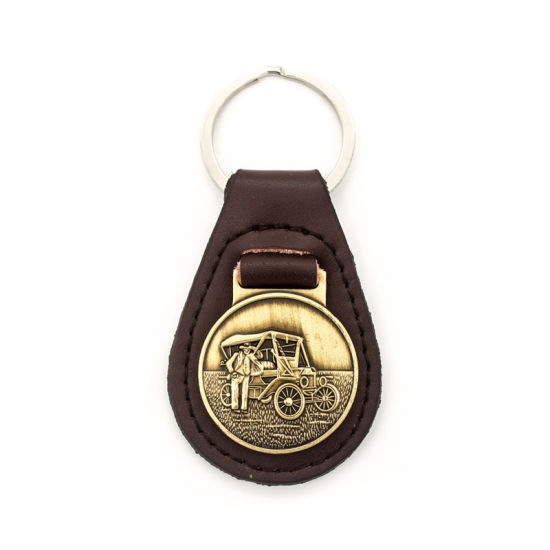 Antique Style Brown Genuine Leather Key Tag Ring Metal RFID Sublimation UK pictures & photos
