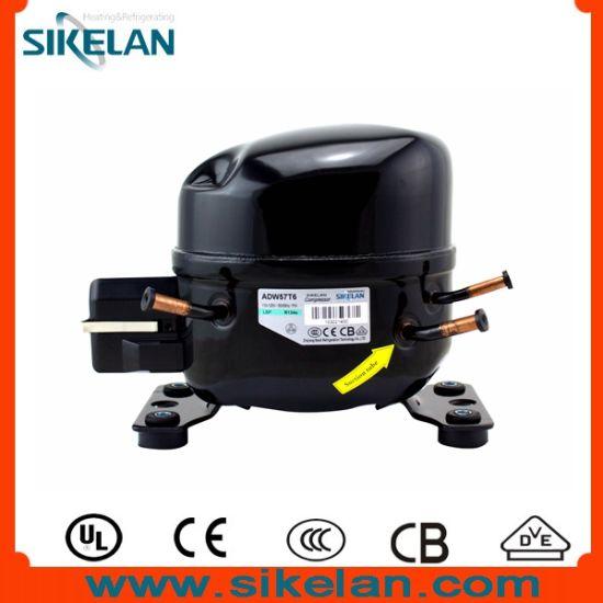 AC Freezer/Refrigerator Compressor Model Adw57t6, Ms Series, R134A 115V, Lbp, 1/6HP Compressor