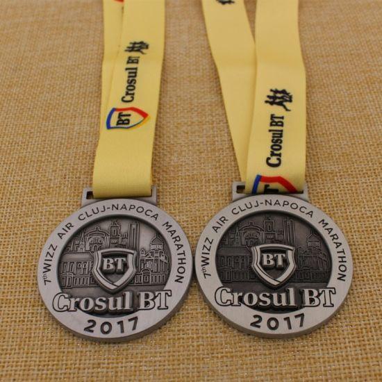 OEM Design Metal Award Marathon Race Custom Medal with Sublimation Ribbon