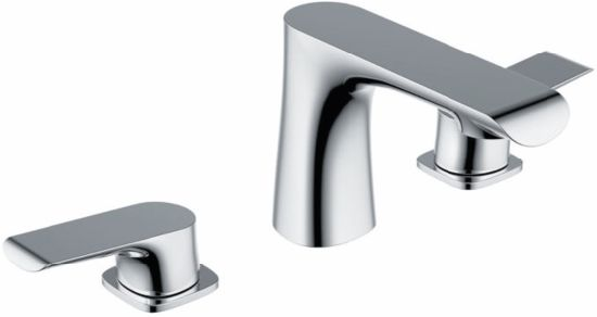 Two Handle Widespread Lavatory Mixer Bathroom Faucet pictures & photos