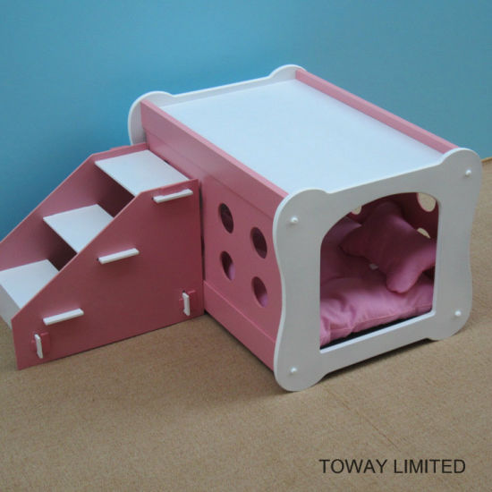 china double layer stairs wood dog house bones shape pet beds