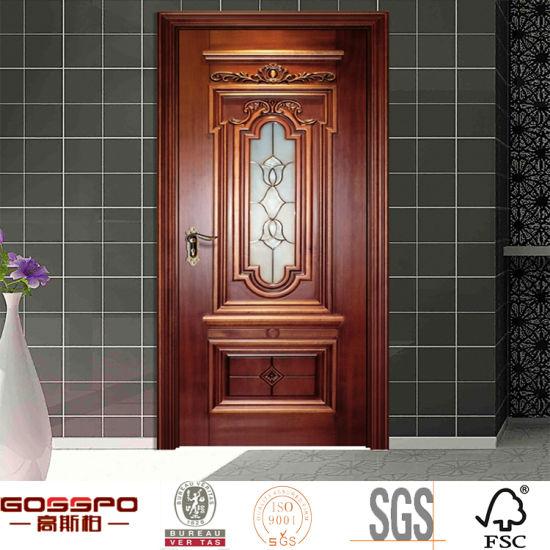 China Bathroom Insert Custom Tempered Glass Solid Wood Door Gsp3