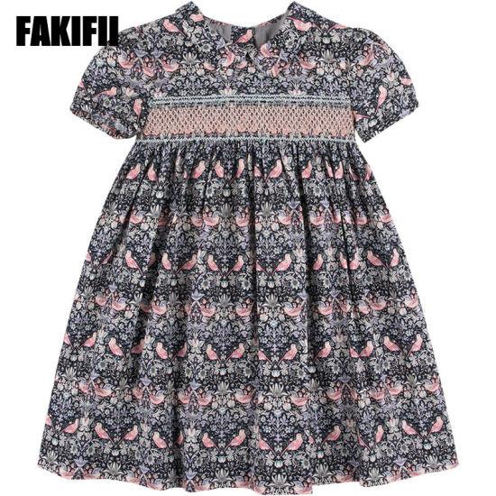 Summer/Spring Factory Customised Kids Wear Children Clothing Girl Flora Smocked Dress Pink Infant Apparel