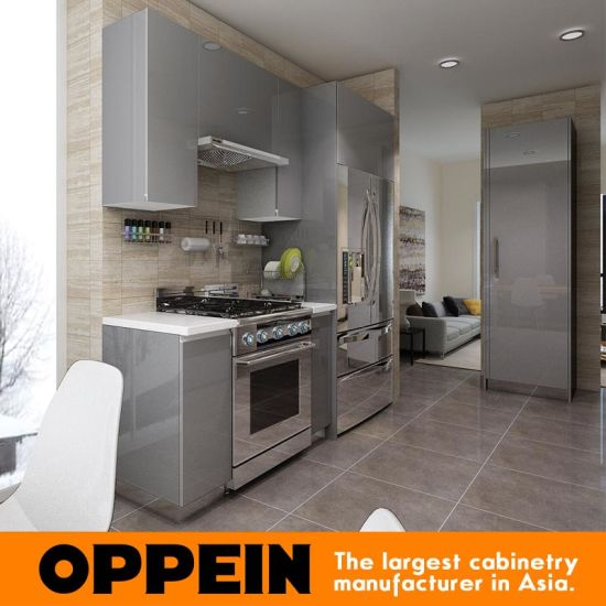 China Modern Glossy Grey Wooden Acrylic Wholesale Modular Kitchen - Glossy grey kitchen