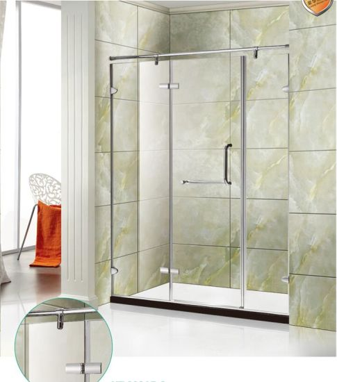 Safe Tempered Gass 304 Stainless Steel Hinge Door Shower Door pictures & photos