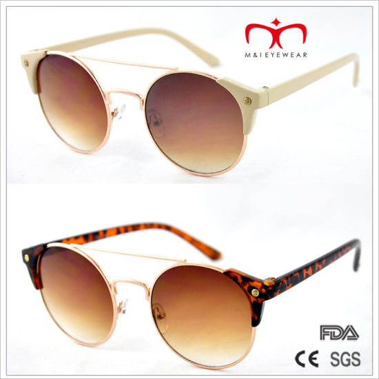 Classical and Hot Sales with Metal Round Frame and Plastic Temple Sunglasses (MI212) pictures & photos