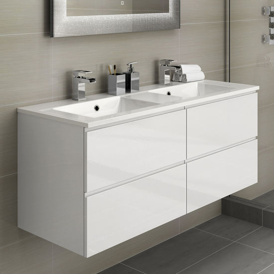 China 60 Inch High Quality Modern White Hotel Bathroom Vanities
