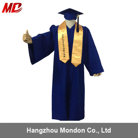 China Royal Blue Matte Graduation Caps And Gowns With Gold Stole