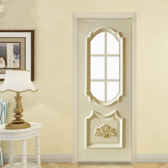 Luxurious Villa Solid Teak Wood Hand Carved Bedroom Door With Architrave Frame