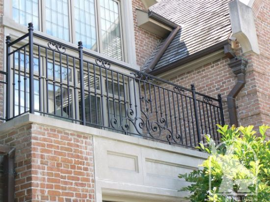 Fancy Security Hand Forged Wrought Iron Exterior Railing on