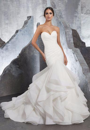 Hot Sale Strapless Organza Mermaid Bridal Women Ladies Wedding Dress (5604) dd8a7de628