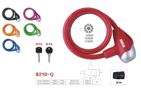 Colorful Bicycle Lock Waterproof Lock Steel Cable Lock