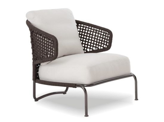 Leisure Sofa with Thick Fabric Seat and Woven Rope Backrest