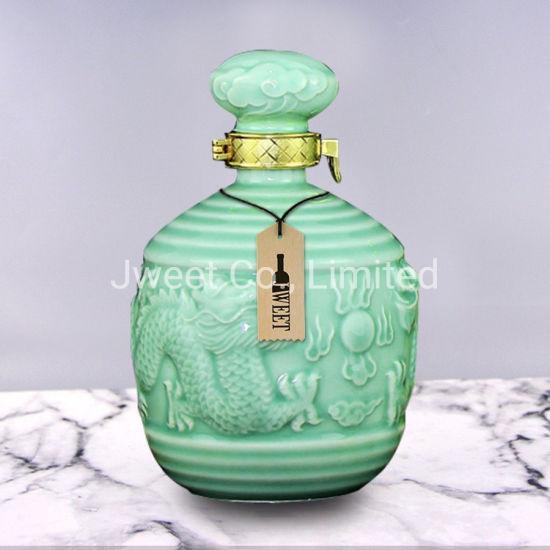 Custom Round 750ml Vodka Beverage Ceramic Bottle