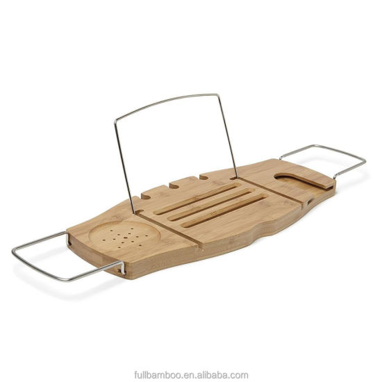 Simple and Light Bamboo Bathtub Tray Bath Caddy with Stainless Steel Handrails.