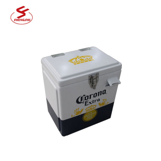 Promotional 7L Portable Vintage Retro Metal Cooler Box Ice Chest Ice Box Beverage Cooler