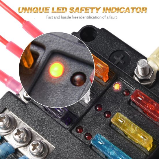 6-circuit blade fuse block, 6-way fuse box block holder with led indicator  waterproof durable protection cover sticker label