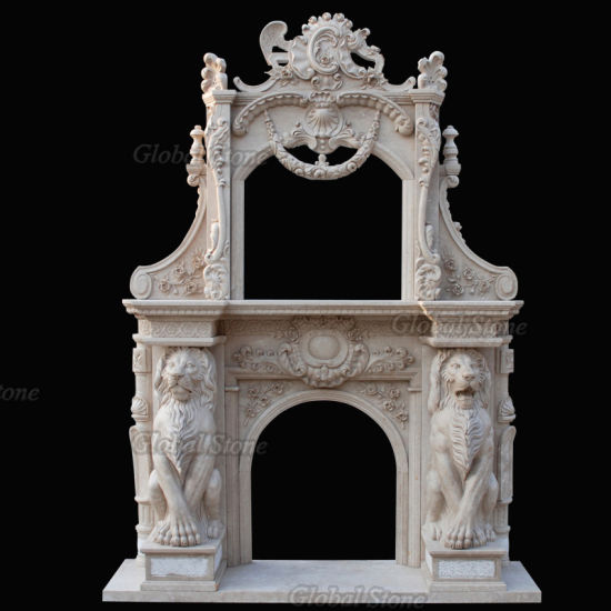 Hand Carved Double Marble Fireplace Surround with Lion Statue (GSMF-260) pictures & photos