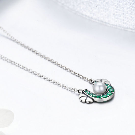d7f6a540280ea China Authentic 925 Sterling Silver Horseshoe Green CZ Clover Flower ...