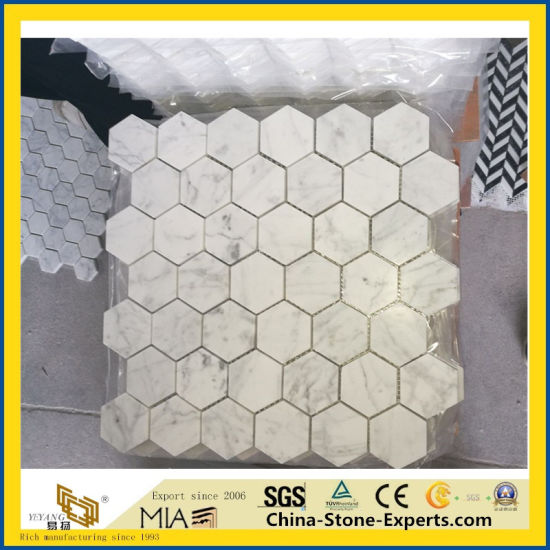 Polished Carrara White Marble Mosaic Tile for Project pictures & photos