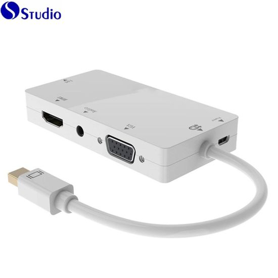 4 in 1 Thunderbolt Dock Hub Mini Display Port to HDMI/DVI/VGA/Audio with Micro USB Port Cables Adapter
