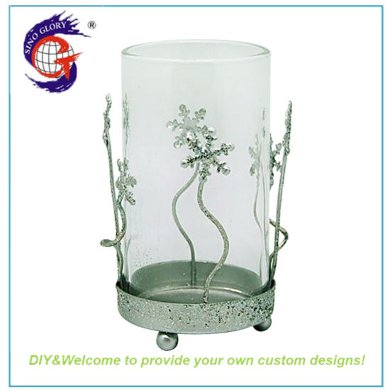 Sino Glory Single Clear Crystal Glass Cylinder Candle Holder