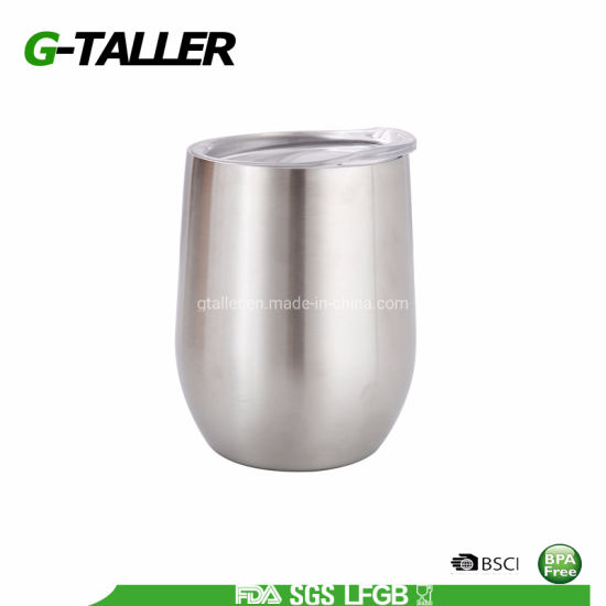 Stainless Steel Stemless Wine Glass Tumbler with Lid, 12 Oz