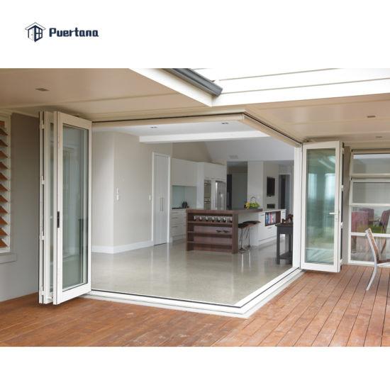 Villa Entrance Aluminum Bifold Glass Exterior Doors Double Glazed/Custom Exterior Corner Folding Sliding Doors White