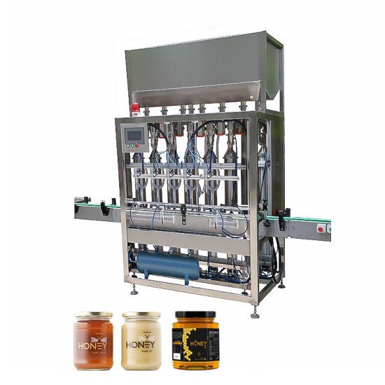 Automatic Piston Pet Glass Bottle Spice BBQ Sauce Peanut Butter Honey Jar Filling Capping Labeling Machine Line