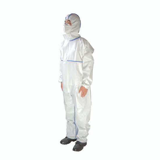 En14126 Type5b/6b CE Certified Cat III Disposable Virus Protection Chemical Medical Microporous Personal Protective Coverall