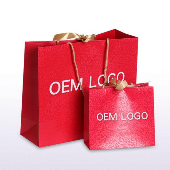 Luxury Famous Branded Recycled Custom Gift Full UV Emboss Logo Paper Shopping Bag