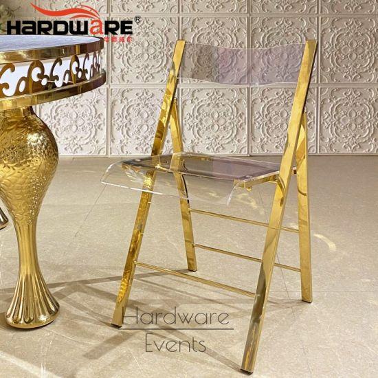 New Wedding Ideas Furniture Acrylic Backrest Gold Folding Chair