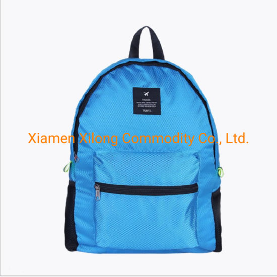 2021 Hiking Folding Polyester Waterproof Portable Travel Bag Sports Backpack Reusable Duffel Bags Outdoor Backpack Blue