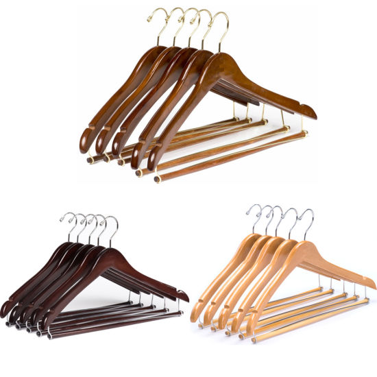 Amazon Hot Sale Curved Louts Wooden Suit Clothes Coat Hangers with Locking Bar