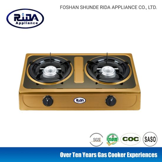 Golden Color Stainless Steel Panel Cast Iron Burner Gas Stove /Gas Cooker