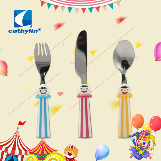 18/10 Stainless Steel Cartoon Pattern Kids Plastic Handle Dinner Set