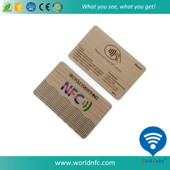 Colorful Printing RFID Beech Wood Card for Hotel