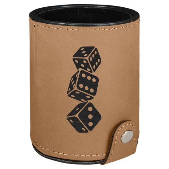 "3.125"" X 4"" - Premium Leatherette Dice Cup - Laser Engraved pictures & photos"