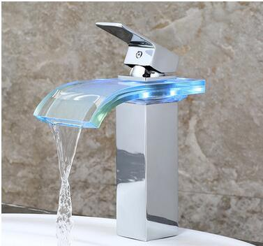 Sprinkle Widespread Waterfall Bathroom Sink Faucet with Color Changing LED Lights Glass Spout Polished Chrome