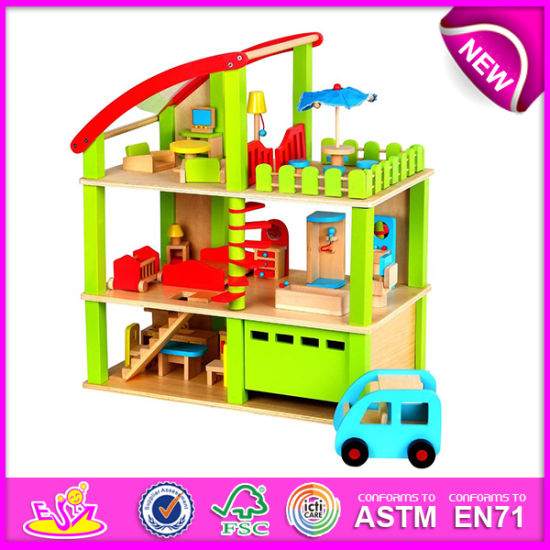 China New Product Wooden Doll House Toy For Kids Colorful Wooden