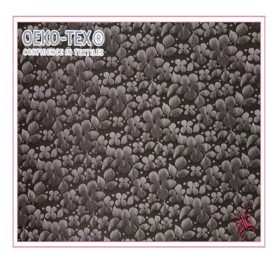 Knit Flower Pattern Black Nylon Spandex Elastic Lace Fabric