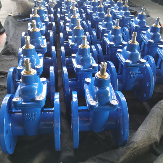 China Supplier Ce ISO DIN3352 Resilient Seated Motor Operated Cast Iron Gate Valve Price List with Extension Spindle
