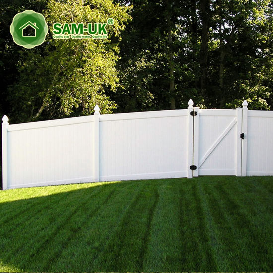 8 Foot Heavy Duty Vinyl Privacy Fence with Double Gate