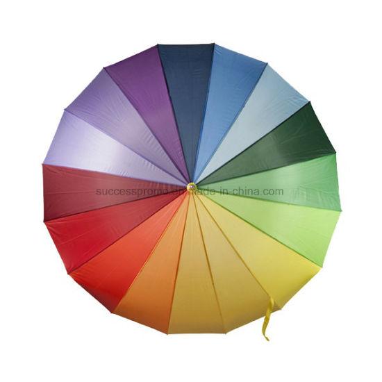 Rainbow Umbrella with Sixteen Different Coloured