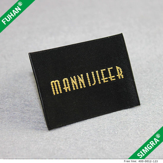 Hot Sale Personalised Gold Apparel Woven Label pictures & photos