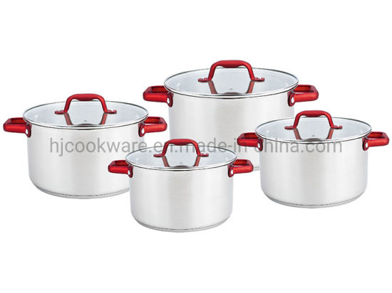 Red Metallic Paint Handle & Knob 8PCS Stainless Steel Cookware Set